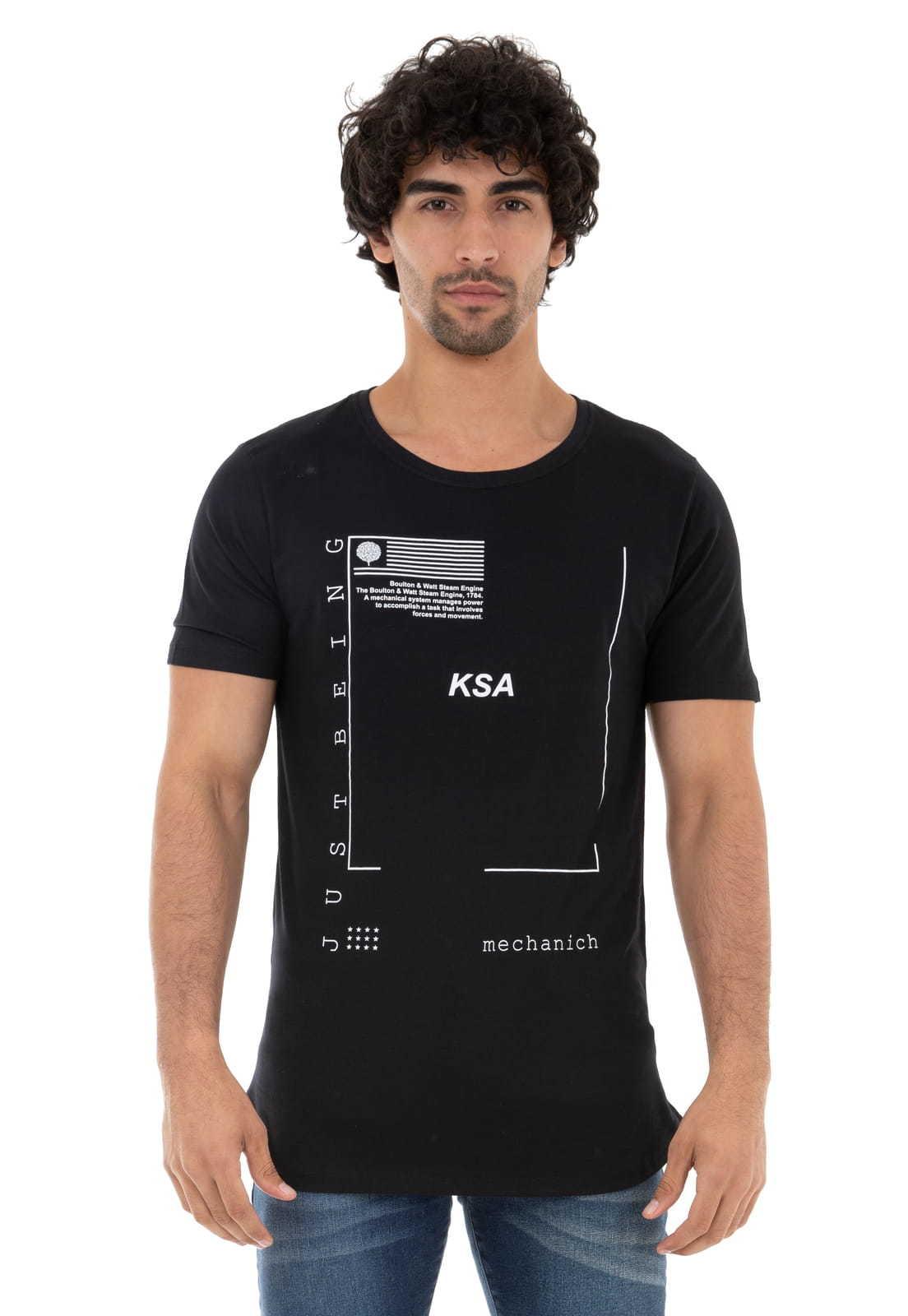 Camiseta Longline Just Being KSA da árvore