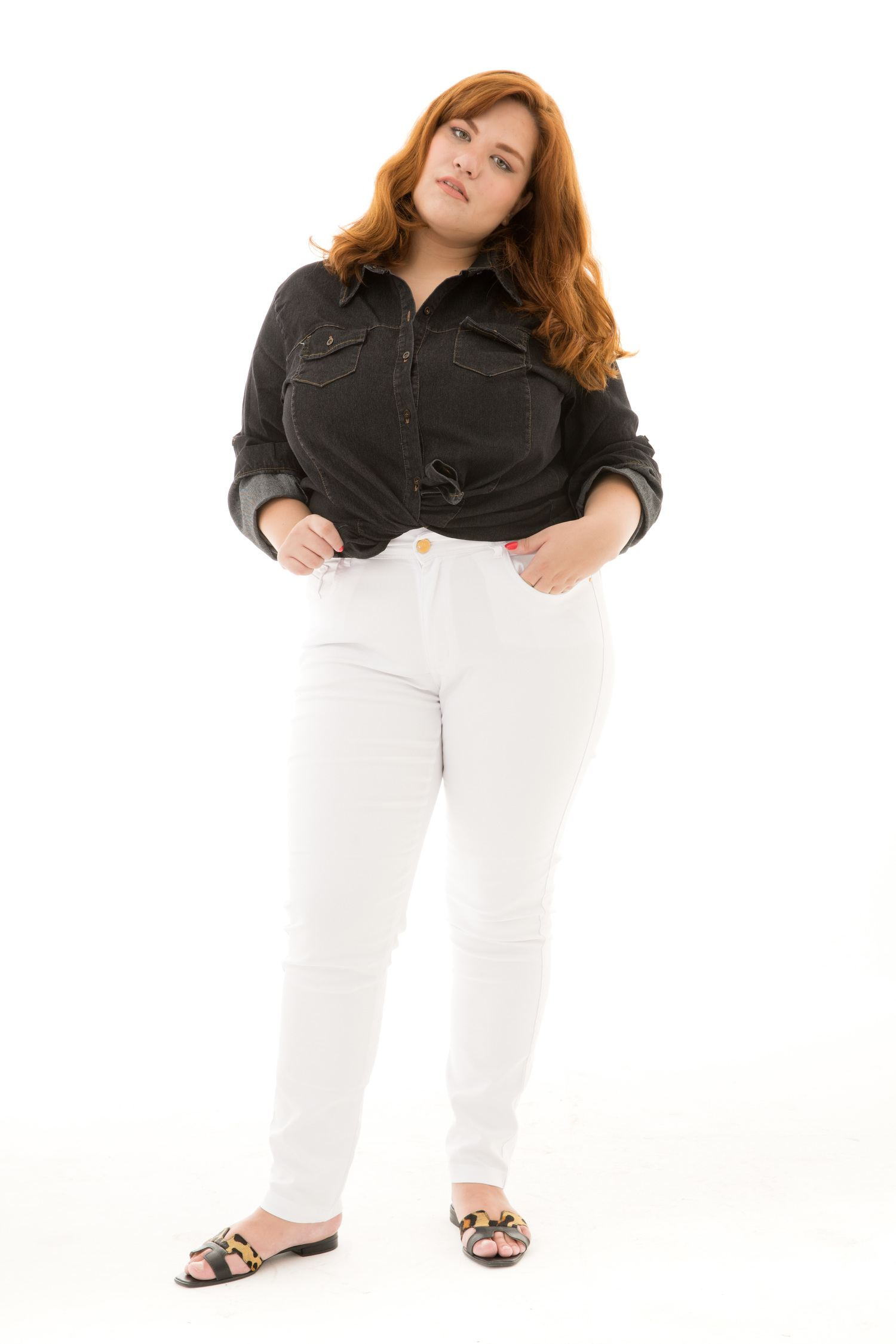 Calça Cigarrete Feminina Plus Size com Stretch [17998]