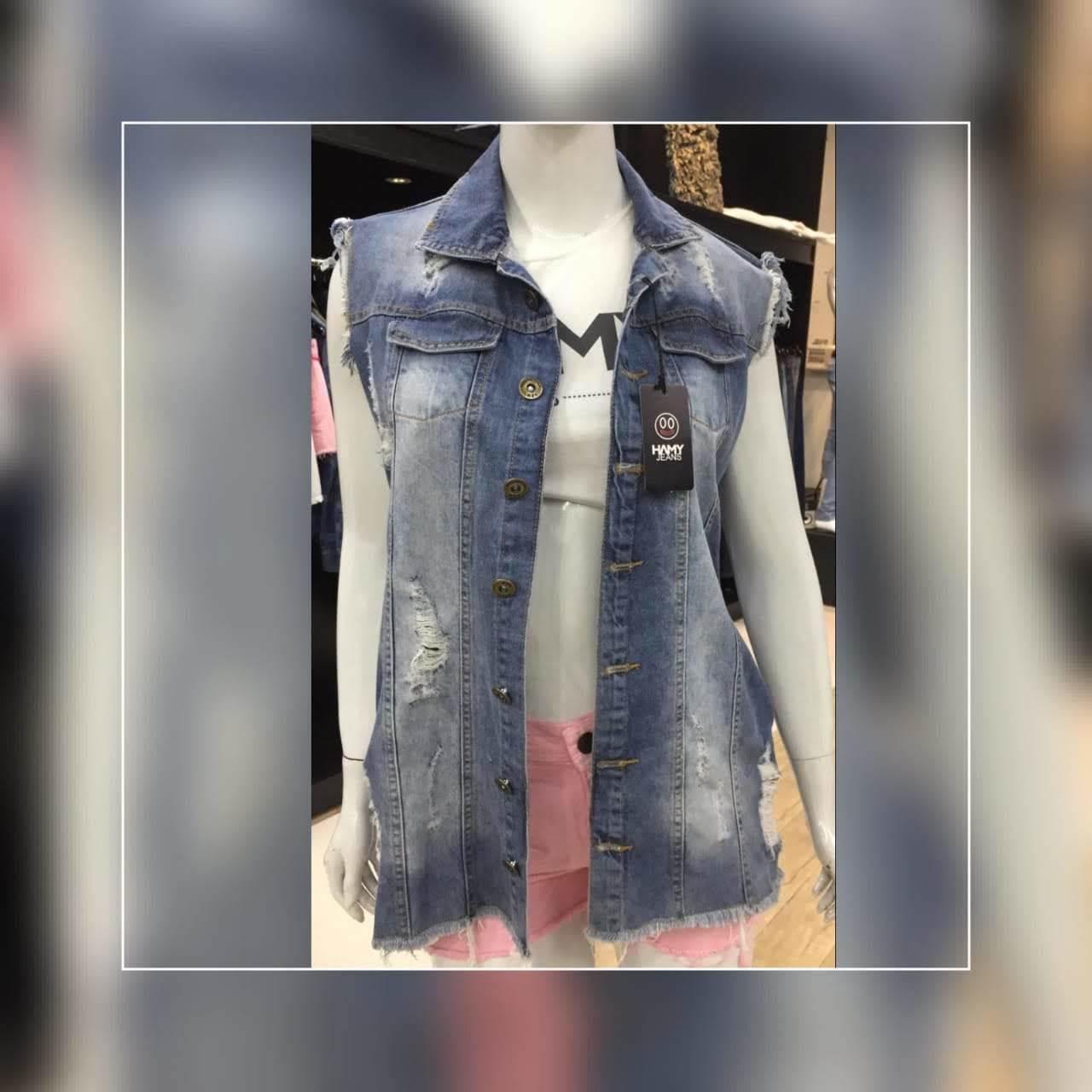 Colete Jeans Feminino Longo  (7003)