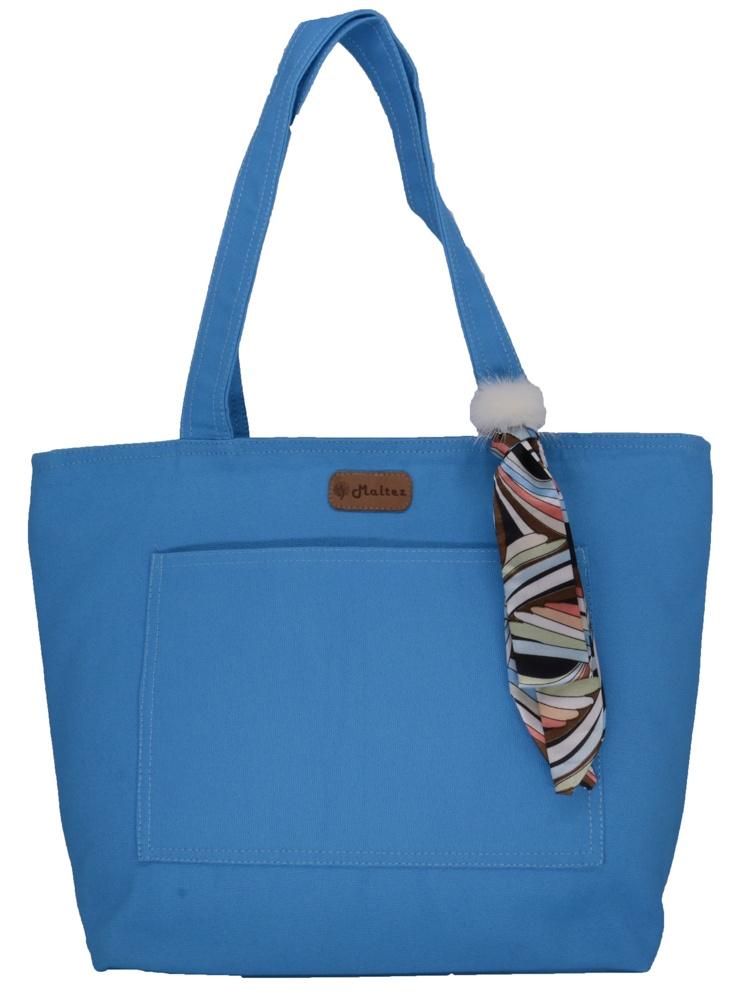 Bolsa Lulu Azul com Lenço-pompom