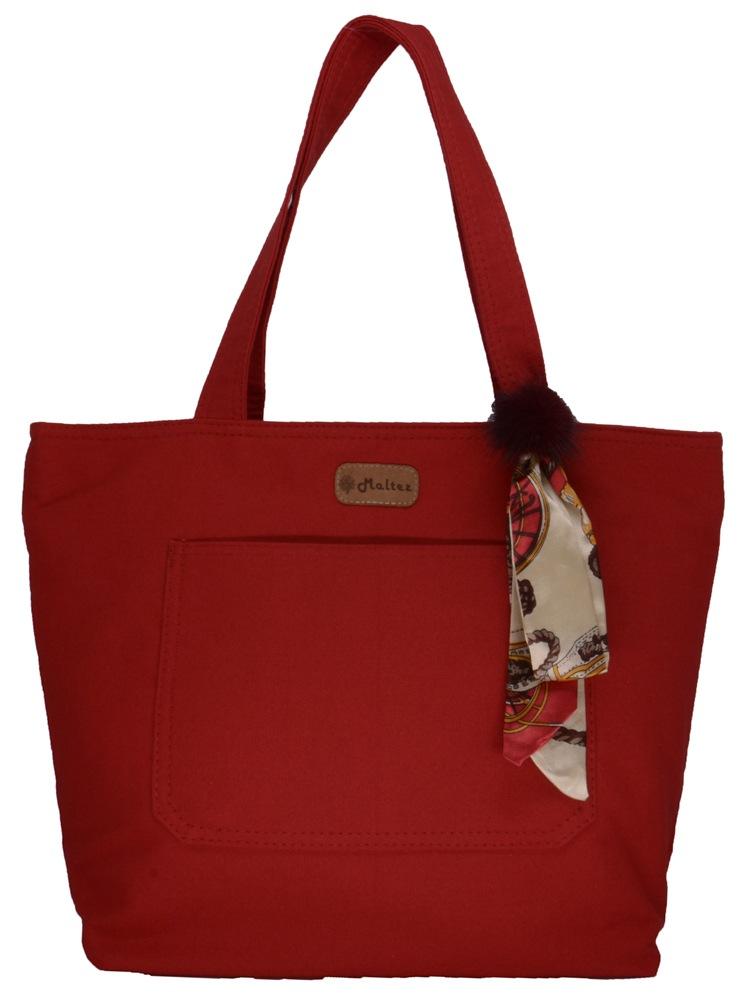 Bolsa Lulu Vermelha com Lenço-pompom