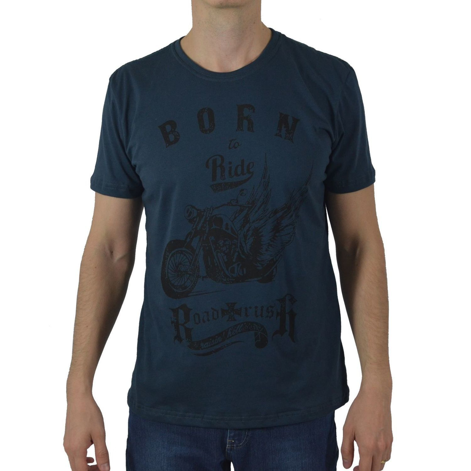 Camiseta Masculina Fallon & Co. Born to Ride Chumbo