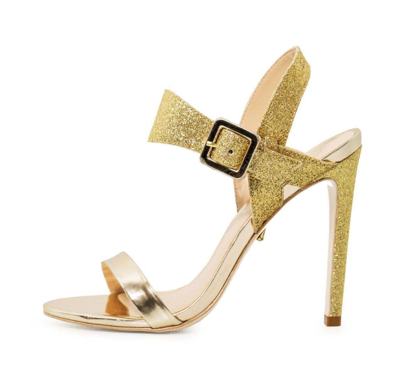 Sandália Bellagio Specchio Glitter Ouro