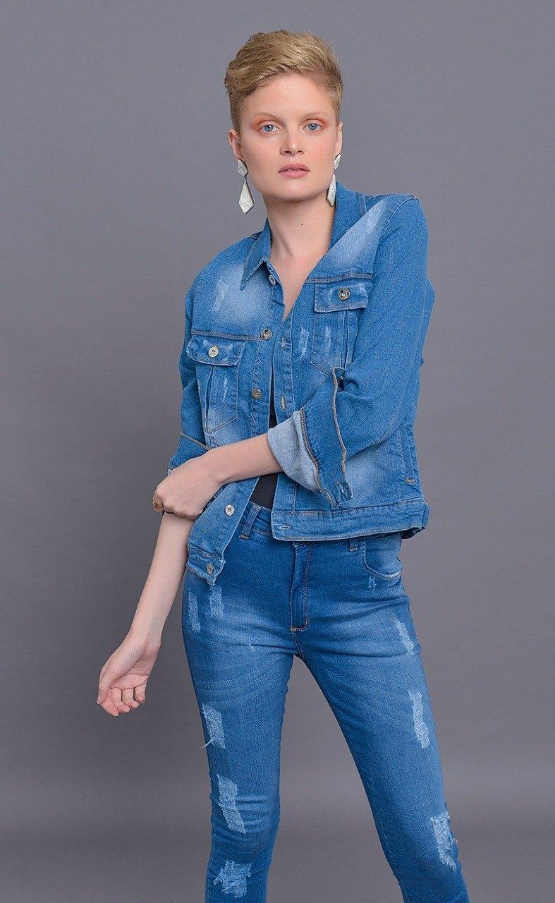 Jaqueta Dinho's Jeans Baltazar com Aplicação (2502)