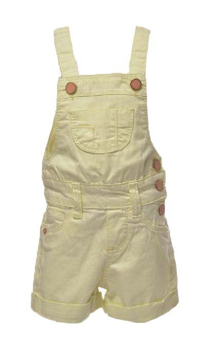 Jardineira de short amarelo claro/pastel com 3 botões [037]