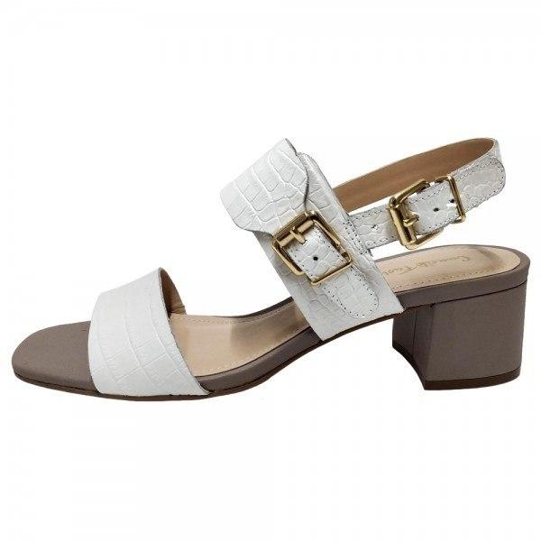 Sandália Salto Grosso Croco Branco