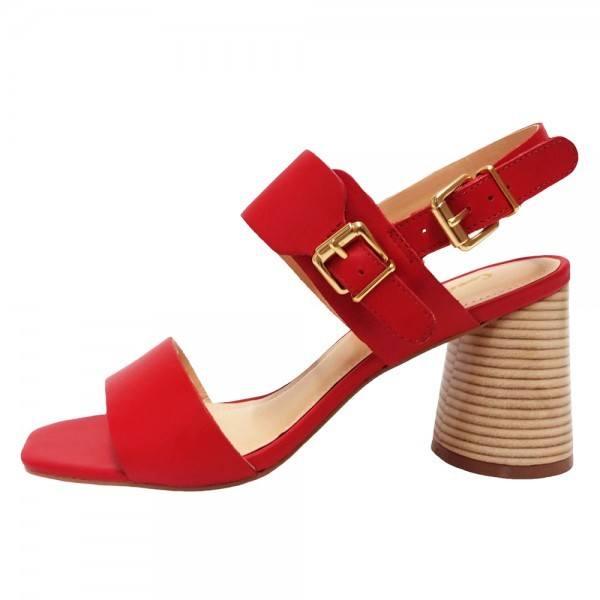 Sandália Salto Grosso Napa Vermelho