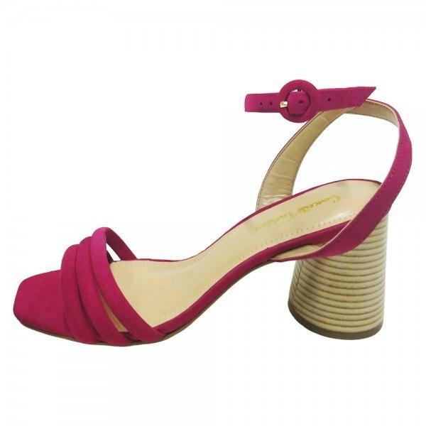 Sandália Salto Grosso Nobuck Pink