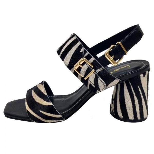 Sandália Salto Grosso Zebra