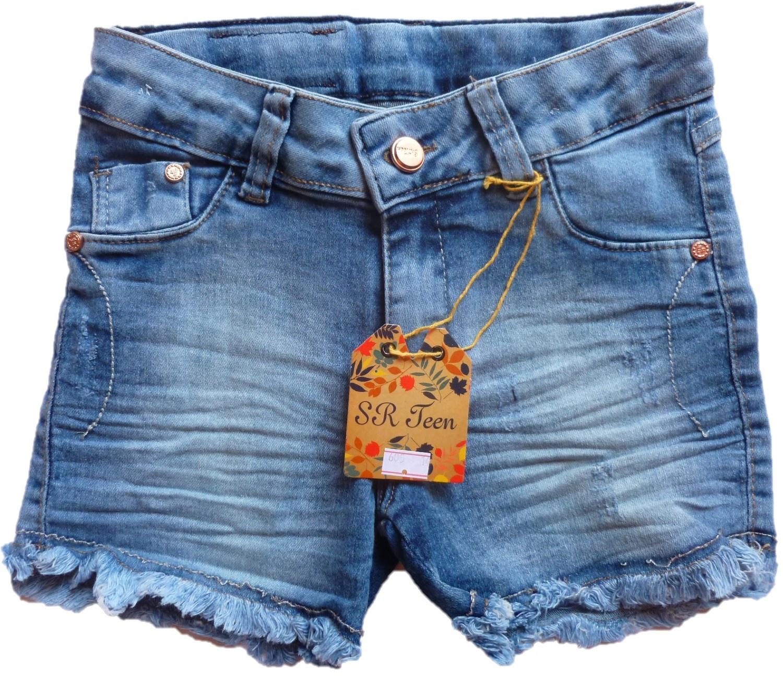 Short jeans infantil com barra desfiada [605]