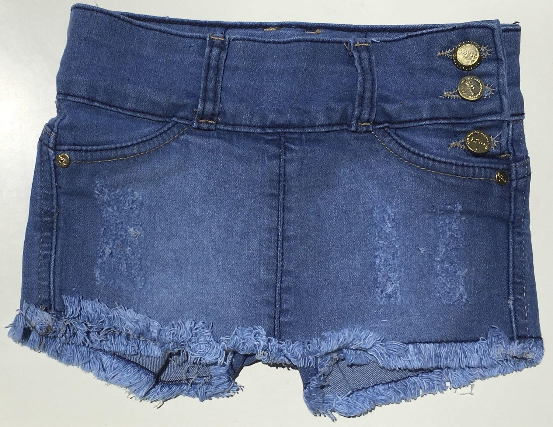 Short-saia jeans com barra desfiada [419]