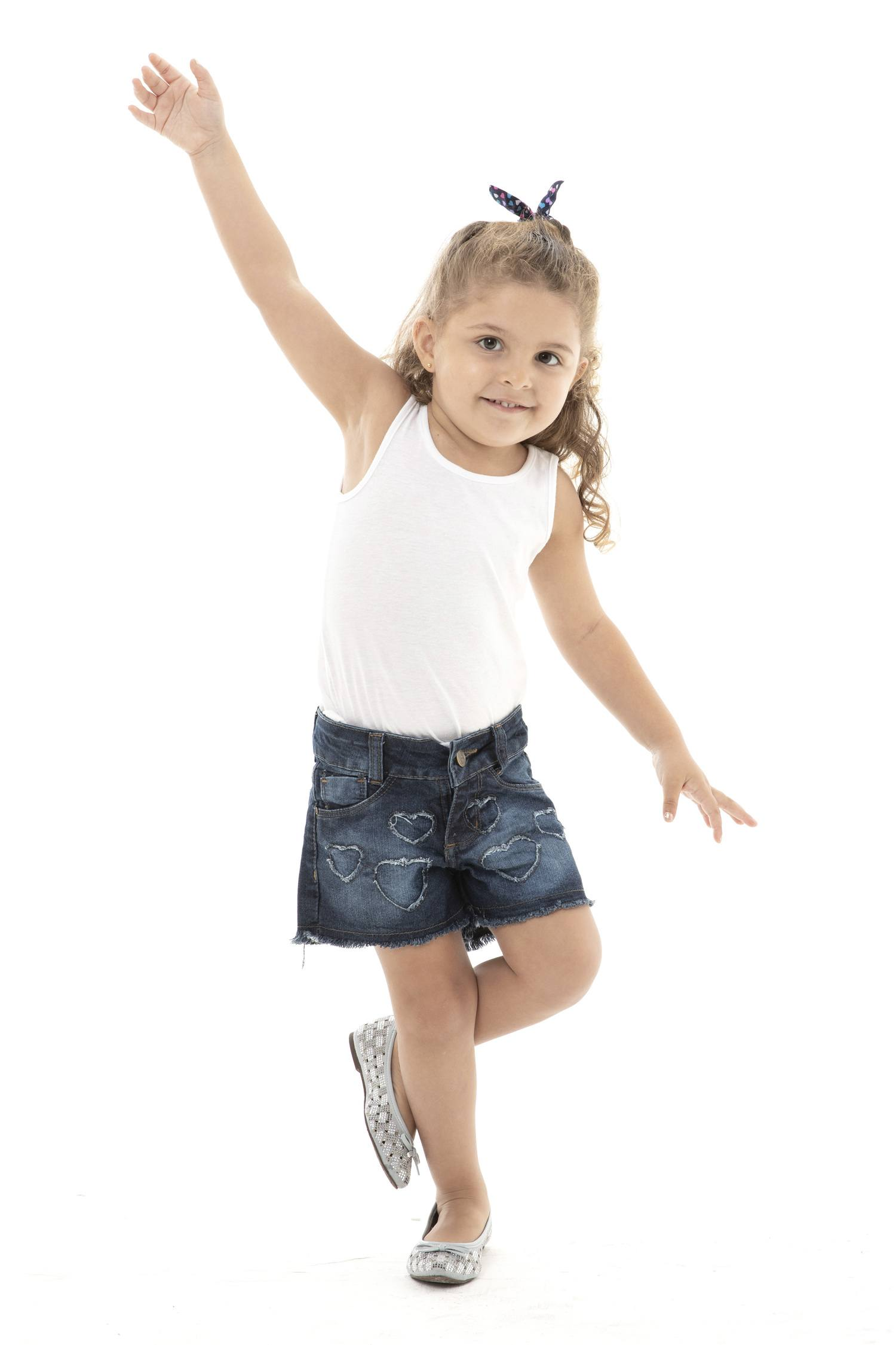 Shorts Feminino Jeans Infantil Coraçãozinho [752]