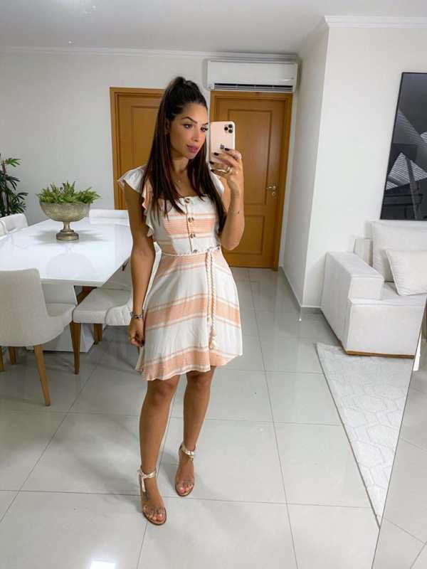 Vestido Lara Romântico em Viscose com Toque de Seda Listrado