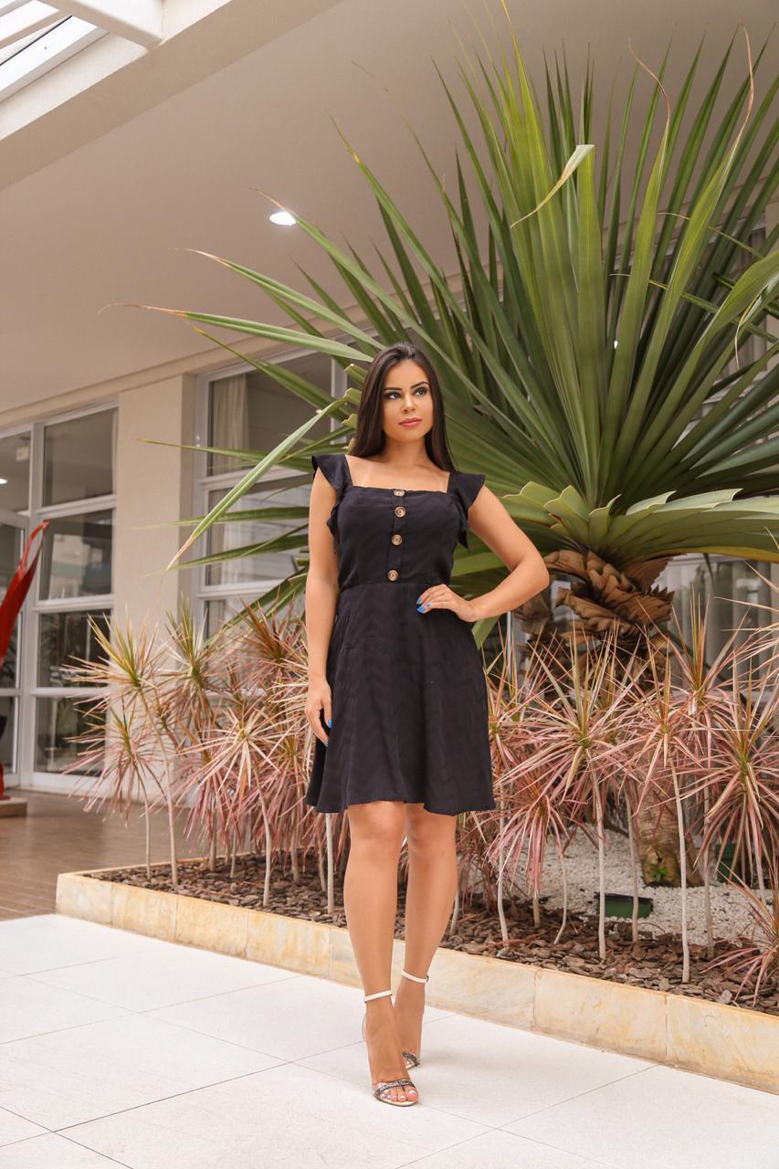 Vestido Lara Romântico, em Viscose com Toque de Seda Preto