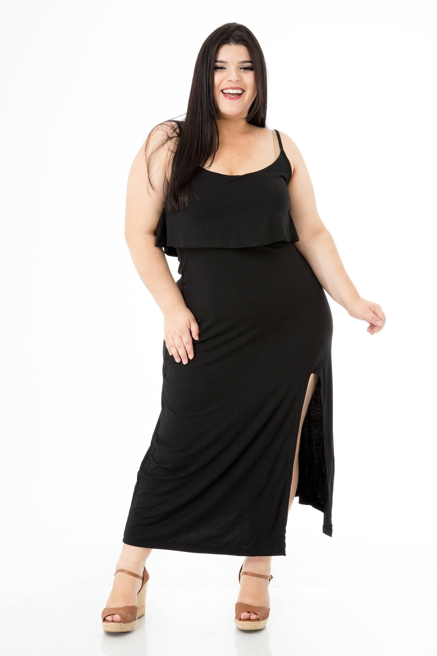 Vestido Plus Size Longo Fenda e Babado