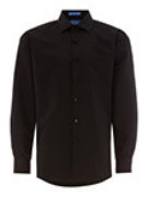 Black Microfiber Fitted Plain Front Spread Collar Shirt
