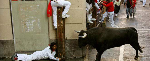 bull running pamplona spain