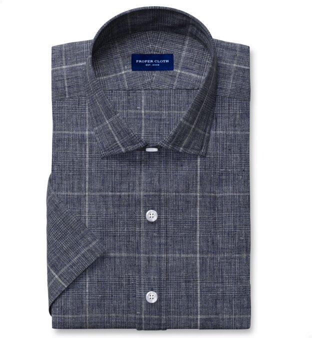Tessuti di Sondrio Washed Slate Blue Delave Plaid Linen Short Sleeve Shirt