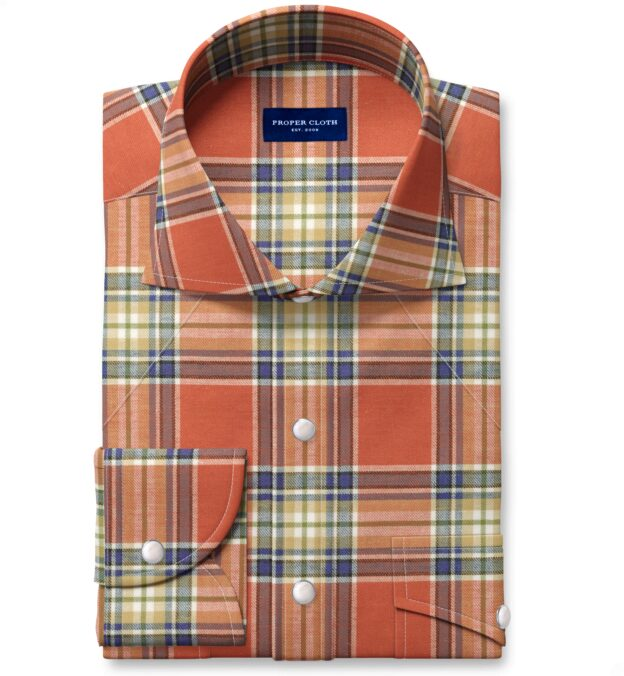 Japanese Tomato and Blue Cotton and Linen Plaid Custom Made Shirt