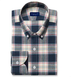 Japanese Navy and Faded Red Cotton and Linen Plaid Custom Dress Shirt