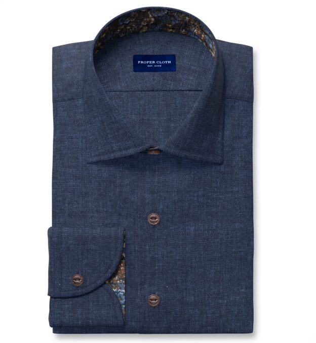 Albini Washed Navy Linen Twill Custom Made Shirt