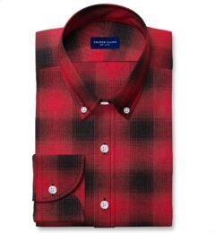Scarlet Ombre Plaid Cotton Linen Blend Fitted Shirt
