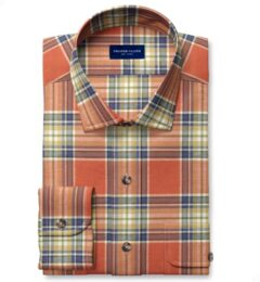 Japanese Tomato and Blue Cotton and Linen Plaid Dress Shirt