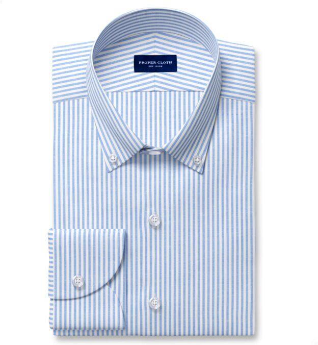 Blue Linen Blend Bengal Stripe Twill Custom Dress Shirt