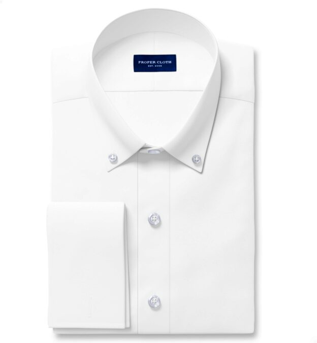 Non-Iron Stretch Supima White Twill Fitted Shirt