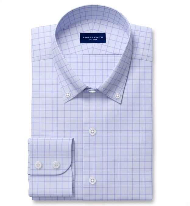 Non-Iron Stretch Lavender and Blue Glen Plaid Tailor Made Shirt
