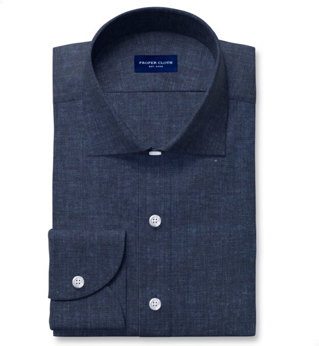 Albini Washed Navy Linen Twill Fitted Dress Shirt
