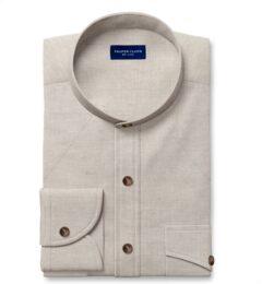 Di Sondrio Natural Dye Basketweave Linen Dress Shirt