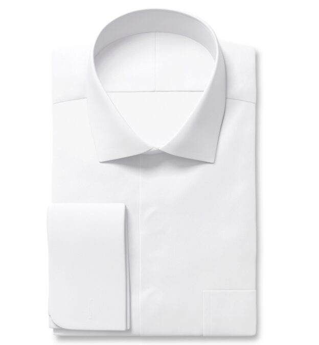 Mayfair Wrinkle-Resistant White Twill Fitted Dress Shirt