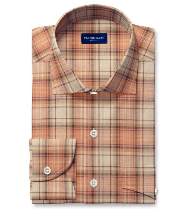 Ecru and Salmon Indian Madras Men's Dress Shirt