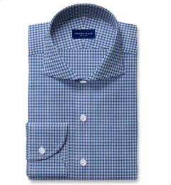 Reda Royal Blue Small Check Merino Wool Custom Made Shirt