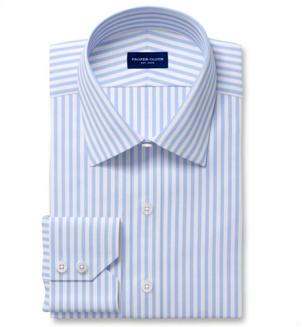 Non-Iron Stretch Light Blue Bengal Stripe Fitted Dress Shirt