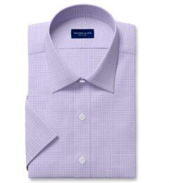 Non-Iron Stretch Lavender Grid Short Sleeve Shirt