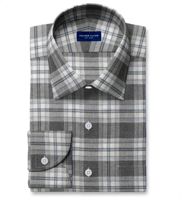 Satoyama Charcoal and Sky Plaid Flannel Tailor Made Shirt