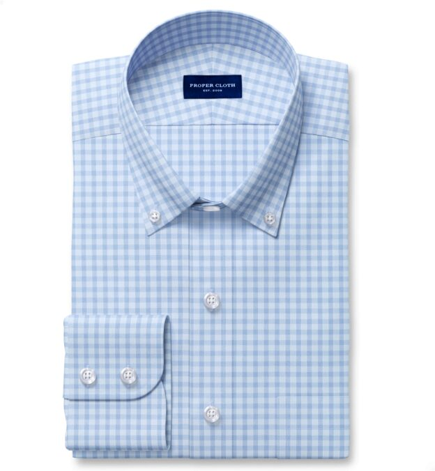 Performance Blue End on End Check Tailor Made Shirt