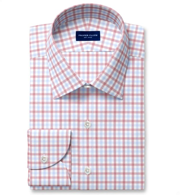 Cooper Red and Blue Check Stretch Twill Men's Dress Shirt
