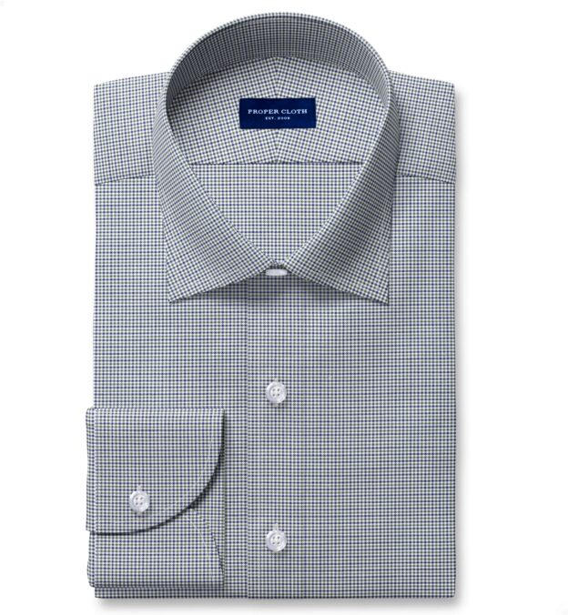 Non-Iron Stretch Green and Blue Houndstooth Check Fitted Dress Shirt
