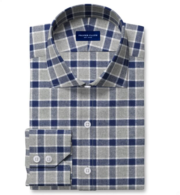 Navy and Grey Check Flannel Men's Dress Shirt