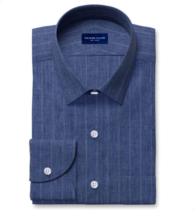 Leomaster Faded Blue Pinstripe Linen Custom Dress Shirt