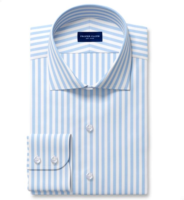 Performance Light Blue Bengal Stripe Fitted Dress Shirt