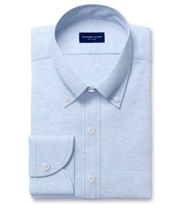 Carmel Light Blue Tencel and Cotton Knit Pique Men's Dress Shirt