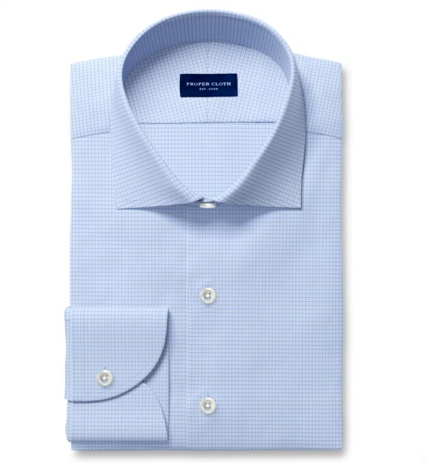 Performance Light Blue and Blue Micro Check Fitted Shirt