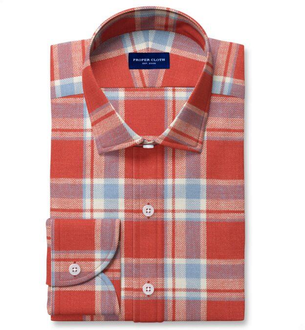 Japanese Washed Tomato and Sky Country Plaid Custom Dress Shirt