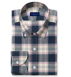 Japanese Navy and Faded Red Cotton and Linen Plaid Tailor Made Shirt