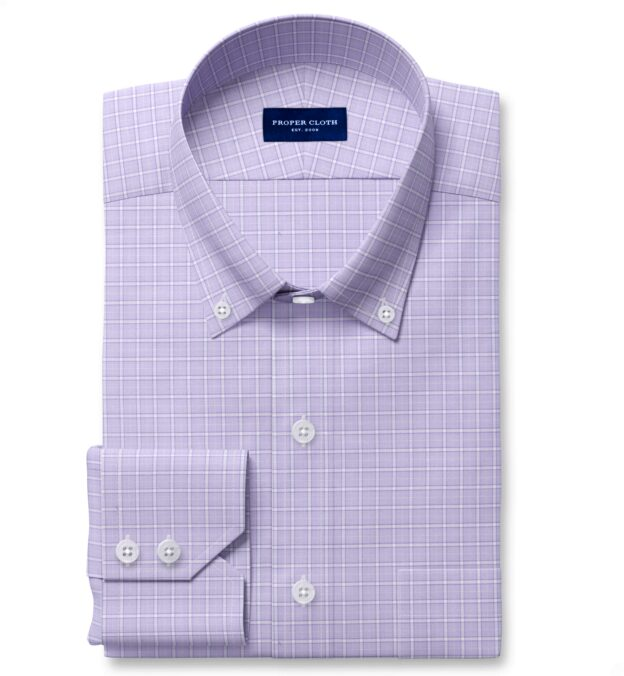 Non-Iron Stretch Lavender Grid Fitted Shirt