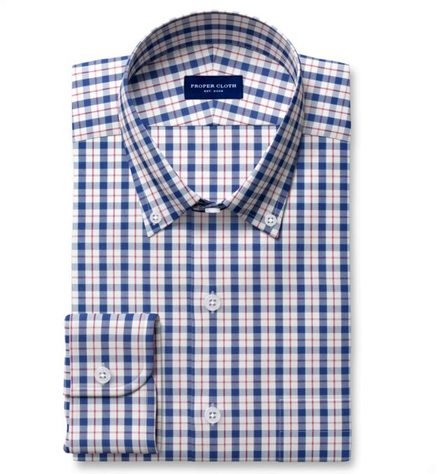 Performance Navy and Red Check Fitted Shirt